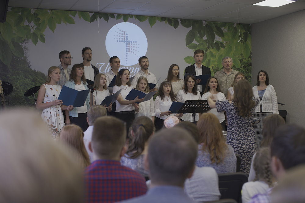 The choir singing during the main service in Tambov
