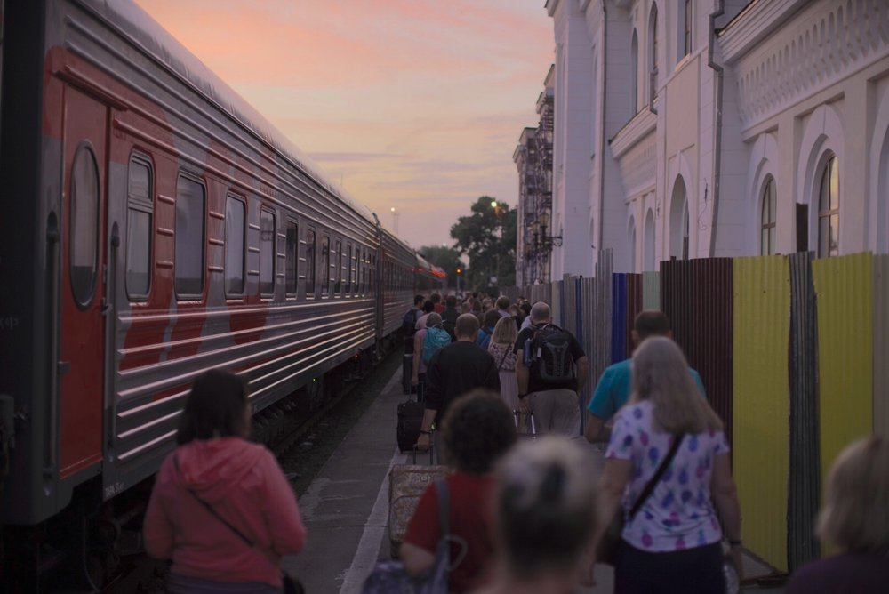Boarding the train in Tambov on Monday evening
