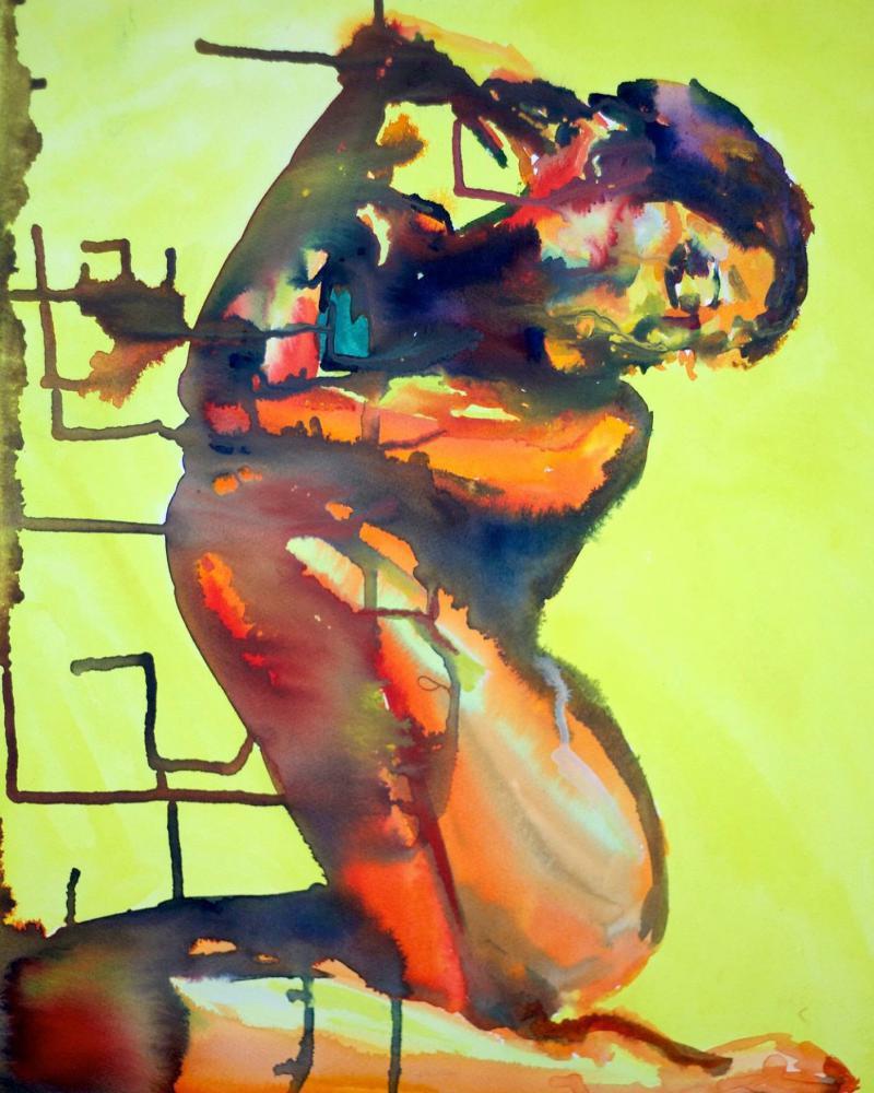 Elegant 1, watercolor by OP Freuler