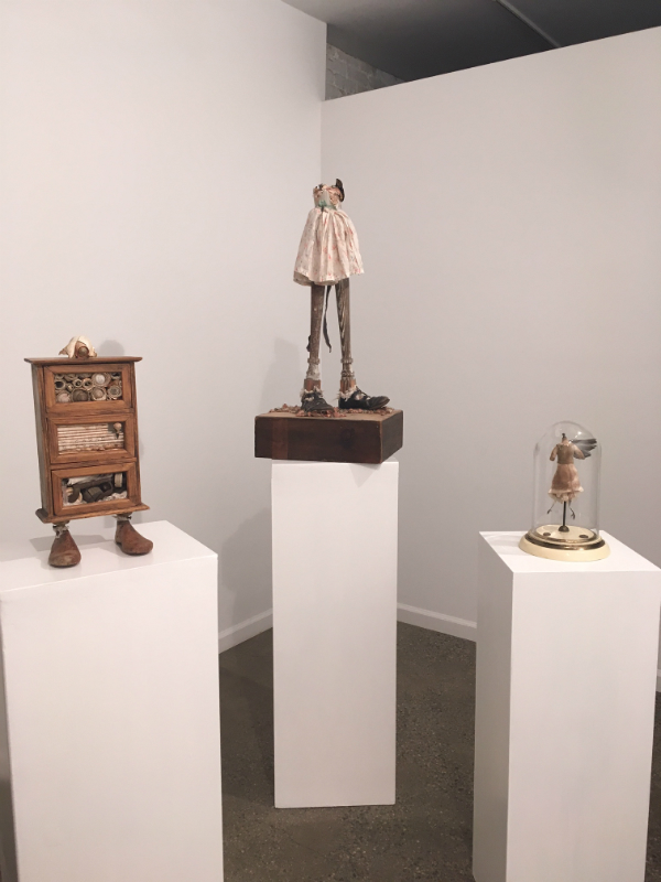 Page Turner, L-->R Tiny Toes (2012), Merry Jane (2014) and Headmistress Harpie (2011), all assemblage incorporating personal and found/family objects