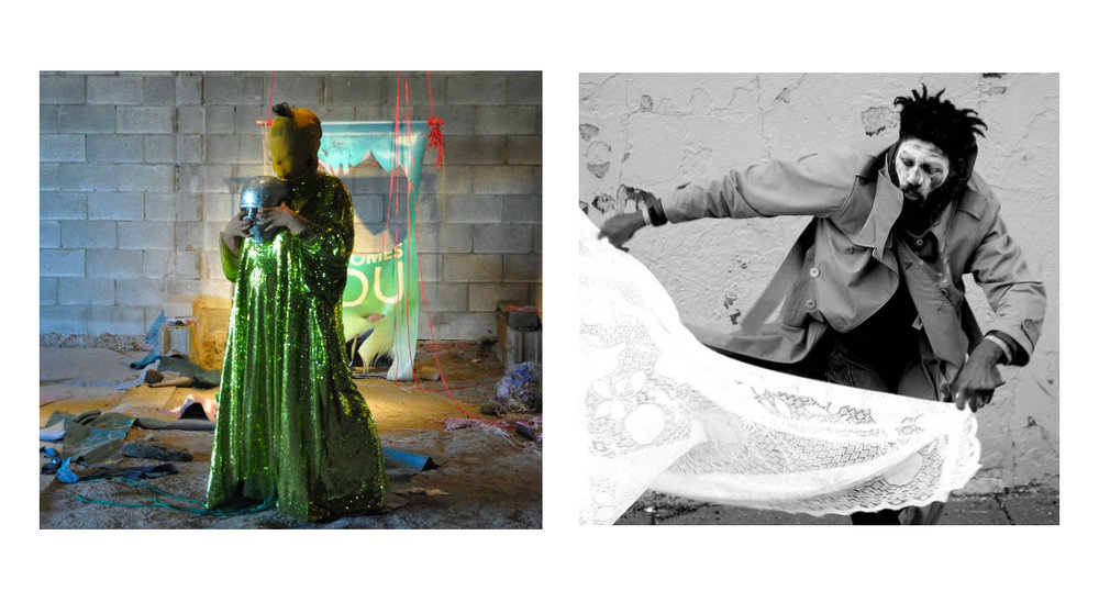 Katya Grokhovsky (left) and Nyugen E. Smith (right), performance stills courtesy the artists