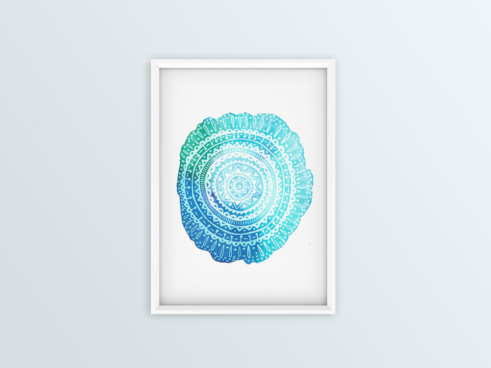 Ocean Mandala Watercolour and gel 2017