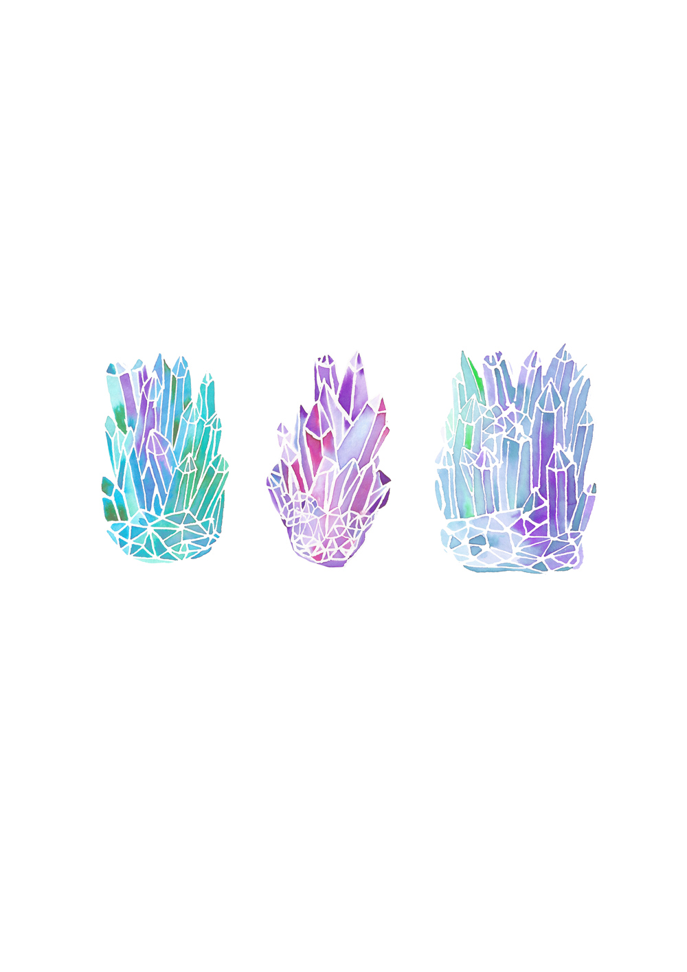 Crystals with masking fluid and watercolour