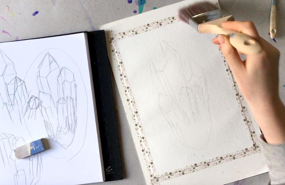 Watercolour Crystal Tutorial leuro.com.au