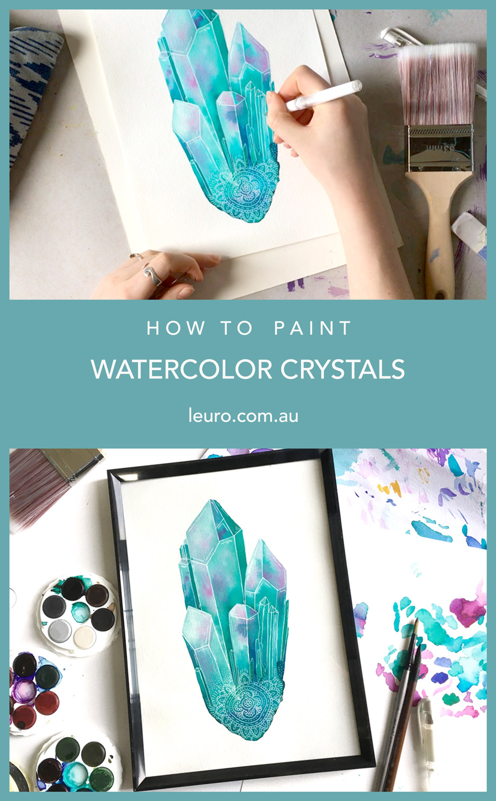 Watercolour Crystal Tutorial leuro.com.au || How to paint a watercolor crystal clusters