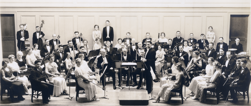 First known portrait of the Reading Symphony Orchestra, most likely at the end of the second season (1932-1933) Restoration: Rachel DiNoto