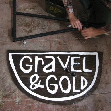 Gravel & Gold Hanging Sign