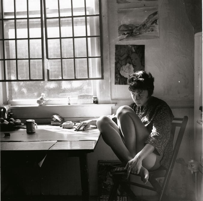 Jay in her Fillmore Street studio, 1960