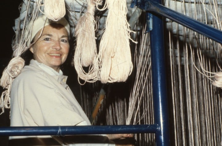 Lenore working in 1979. Photo by George Erml. Then Lenore's loft in 1994 as photographed by William Seitz. And a   blissed out working Lenore   dressed to match her loom set up.