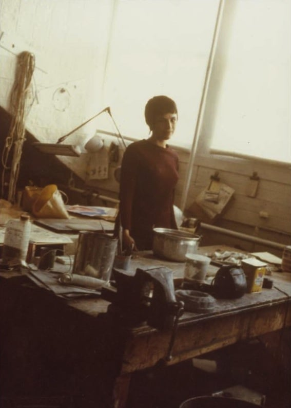 Eva Hesse then in her   Bowery studio, NYC   (1968)