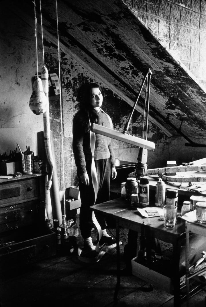 Eva Hesse in her Kettwig Studio, Germany   1964 and 1965