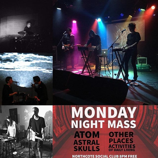 "Amazing line up at @northcotesocialclub tonight, we're launching our new song Light Noises.  RepostBy @itrecordsmelb: ""TONIGHT #mondaynightmass ... playing times: I think it's 8.15 ACTIVITIES OF DAILY LIVING 9 ATOM 9.45 OTHER PLACES 10.30 ASTRAL SKULLS @northcotesocialclub #FREE"