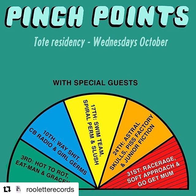 Our next show is in the Tote front bar on Wednesday October 24 with Piss Factory and Junior Fiction for Pinch Points' residency. It actually kicks off tonight so why wait? Just look at these line ups - and it's free!  #Repost @rooletterecords: ・・・ 🔥 TONIGHT is the first night of Pinch Points' October residency at The Tote front bar! What an incredible lineup for every single show, credit to @pinchpointsband // Show starts at 7PM & it's FREE!!! 🤩❤️
