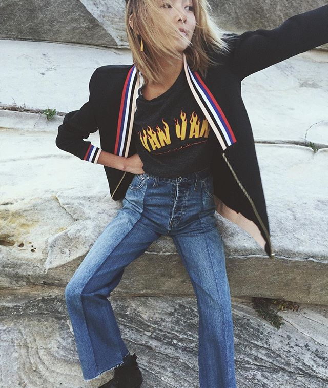 it's real windy up here 🌾 @maurieandeve jeans, @p.e.nation jacket