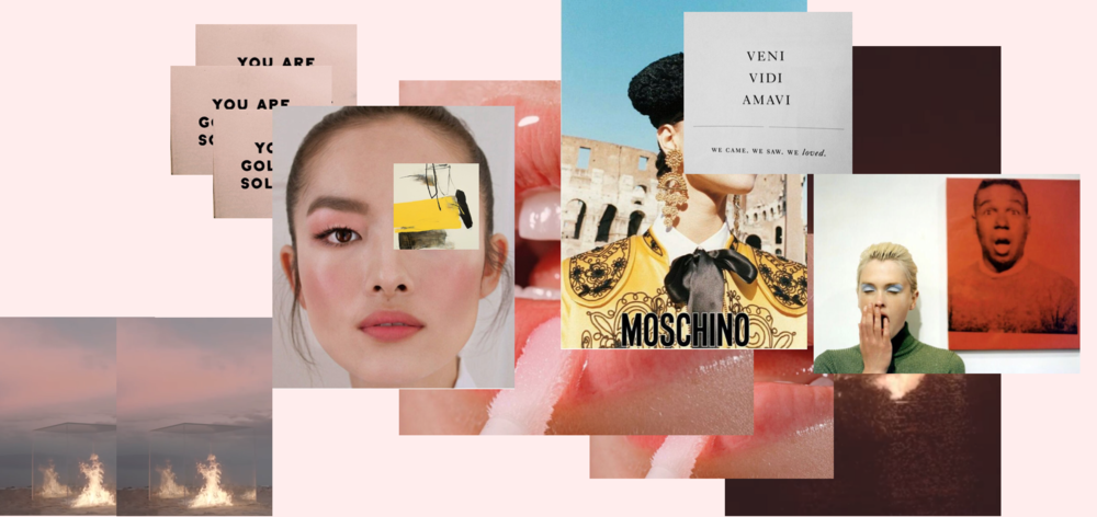 Left to right: Screenshots from 'TRAVIS' YSL S17 / Feifei Sun / 'Contact Sensation' by Hyunmee Lee / Glossier Nov 16 / Kasia Struss, Moschino SS12 by Juergen Teller / Kylie Bax, Vogue Italia 96 by Steven Meisel.