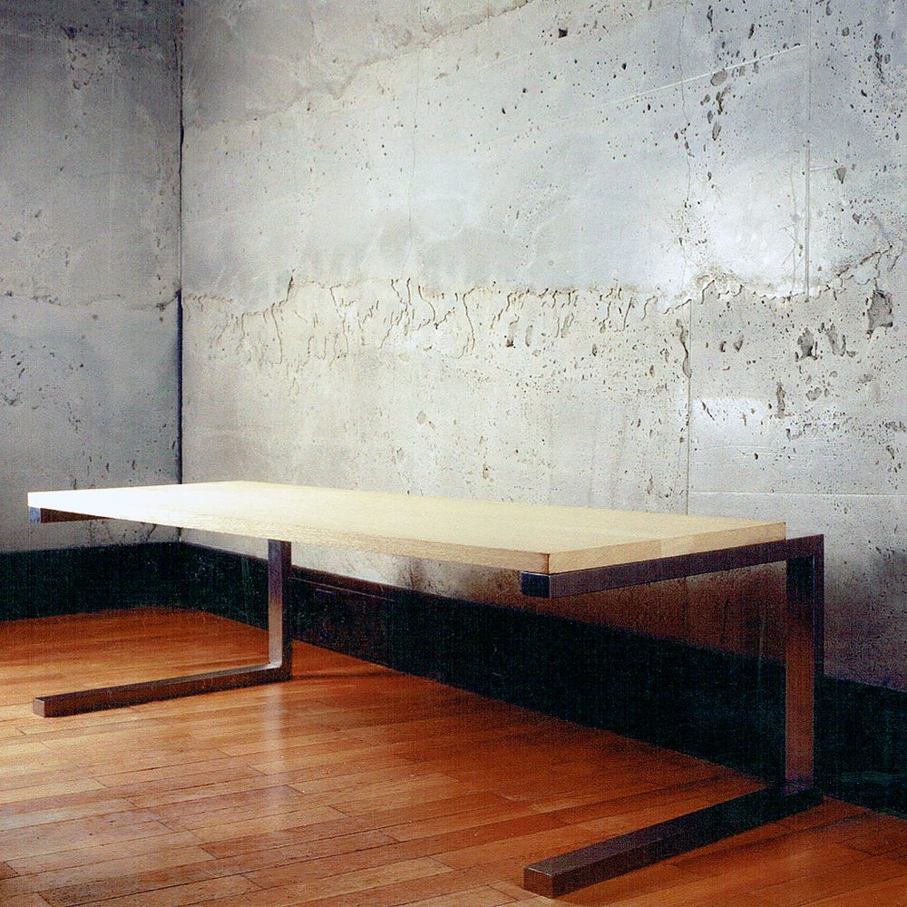 Long Table: Oak and Stainless Steel: Polished Concrete Wall