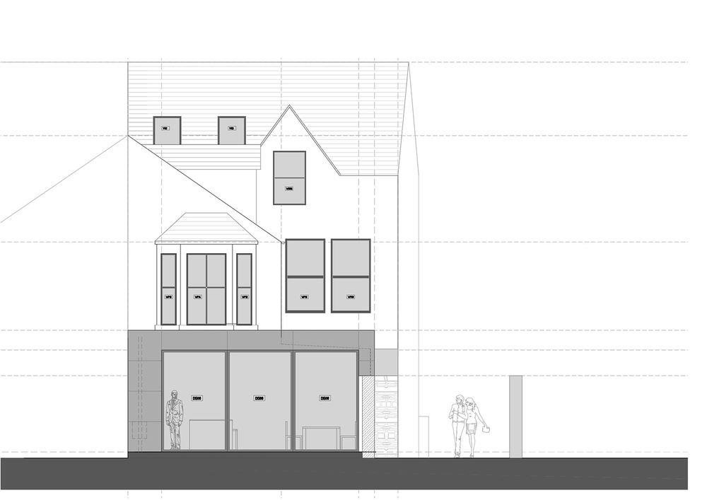 The GLASSHOUSE : rear elevation sketch