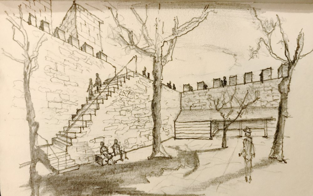 Sao Jorge Castle, Lisbon : Courtyard sketch