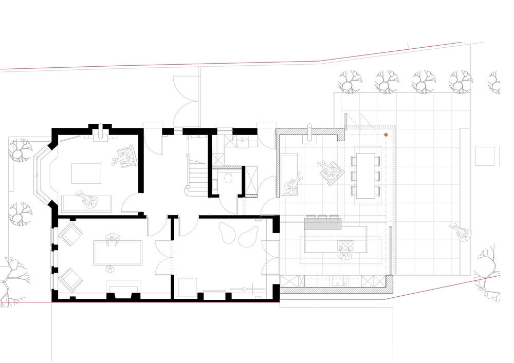 Proposed Plan : The rear of the property is to be demolished and replaced with an unashamedly modern open plan Kitchen/ Living / Dining area, with full height sliding glass doors and enormous roof lights. The rear, flat roof structure is to be clad in precision black aluminium, devoid of any additions due to hidden guttering and downpipes.