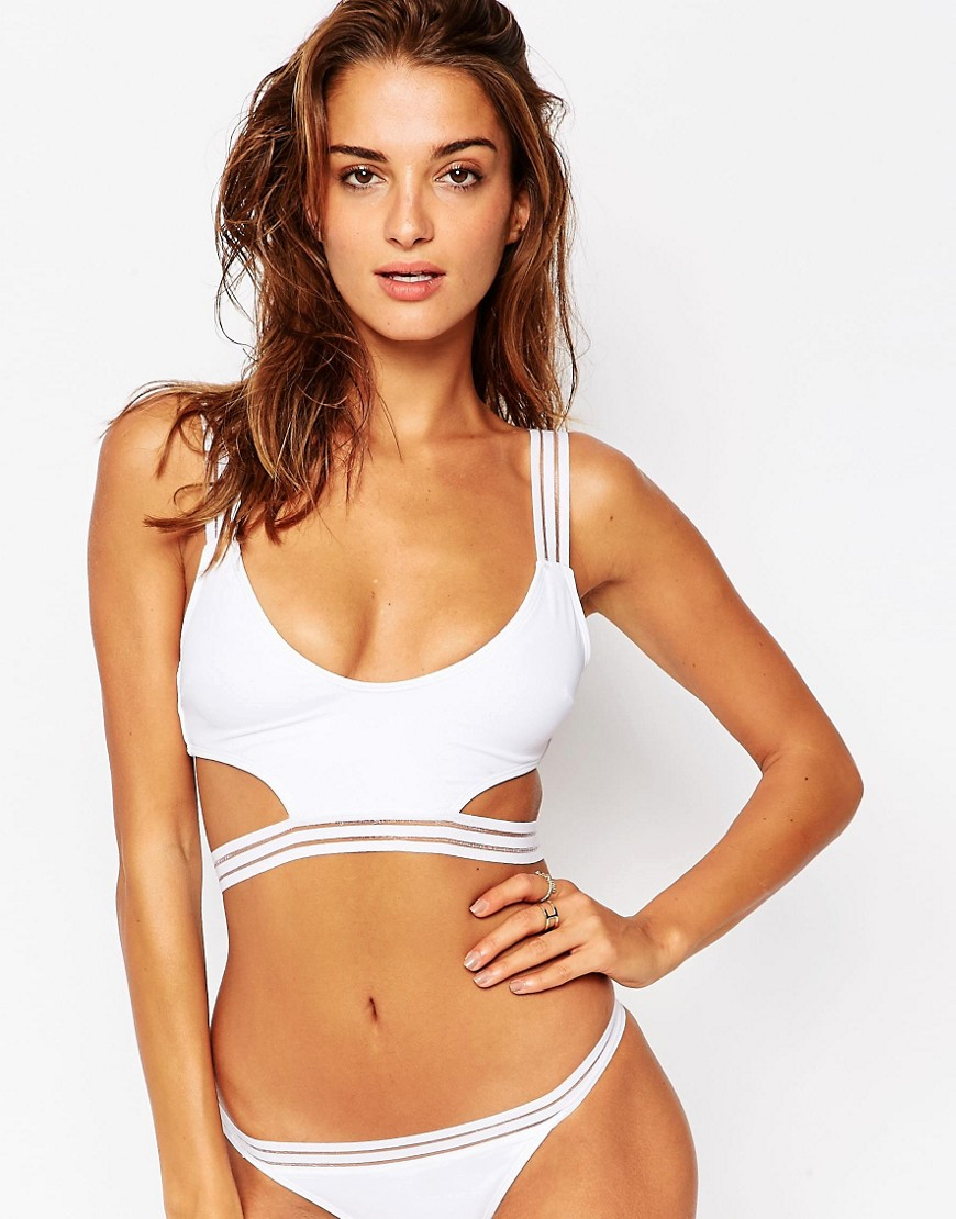 ASOS Burn Out Stripe Cut Out Crop Bikini Top