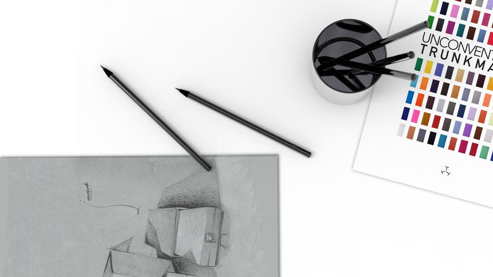 我们的会面 - 在我们的硬箱精品店或者您的住所预约会面。定制之旅始于您的愿望。伴随着硬箱定制的初衷概念,草绘及第一次方案设计,材质和工艺的补充:我们将为您呈现一个丰富的初期想象成果。让我们在分享交流中开启硬箱的设计与细节完整。
