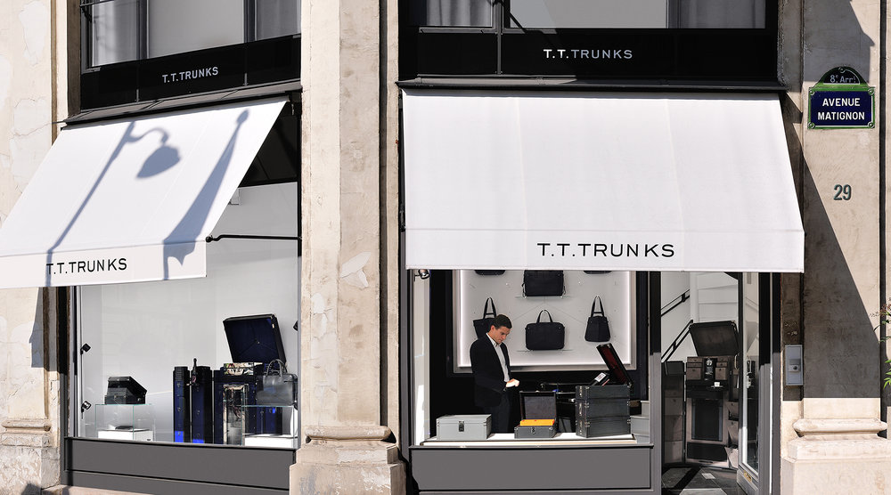 Boutique T.T.TRUNKS - 29, Avenue Matignon116, Rue du Faubourg Saint-Honoré75008 - PARISLundi :    10h00 - 19h30Mardi :   10h00 - 19h30Mercredi : 10h00 - 19h30Jeudi :    10h00 - 19h30Vendredi : 10h00 - 19h30Samedi :  10h00 - 19h30Tél. : +33 1 45 74 04 31Email : contact@tttrunks.com