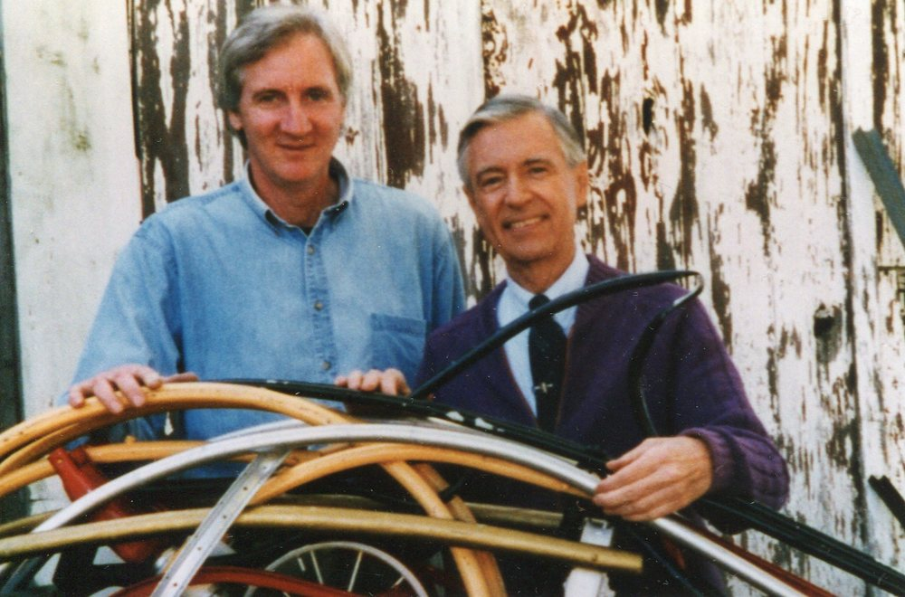 "Fred Rogers and Leonard Streckfus during the filming of ""Mr. Rogers' Neighborhood,"" Episode 1712, ""Sharing,"" February 8, 1997."