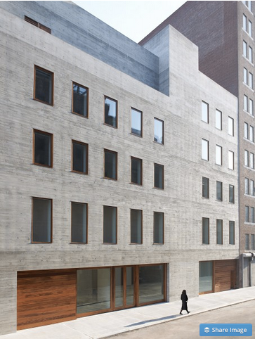 Photo credit: Jason Schmidt. David Zwirner's second location in Chelsea was designed by Selldorf Architects. This 30,000 sf building uses materials inspired by modern and contemporary masters. The gallery includes ample exhibition and work spaces incorporating concrete floors, teak-framed windows, and sawtooth skylights allowing for natural light.