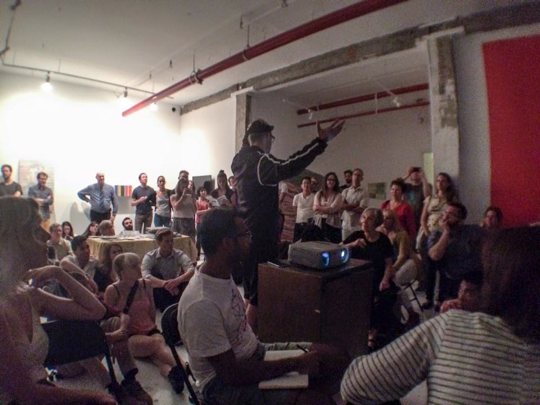 Image Caption: Bushwick Art Crit Group, artist lecture night summer 2015