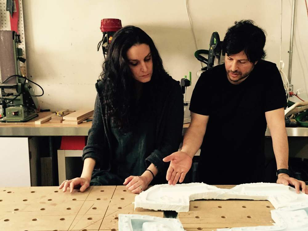 Marc and Adina Levin working on a prototype