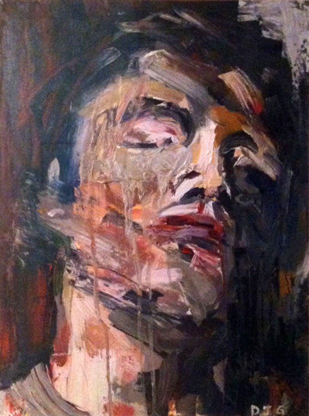 "Daniel John Gadd, ""Wounded Man (After Courbet)"", 24"" x 18"", Oil on paper, 2008. Photo courtesy of Daniel John Gadd."