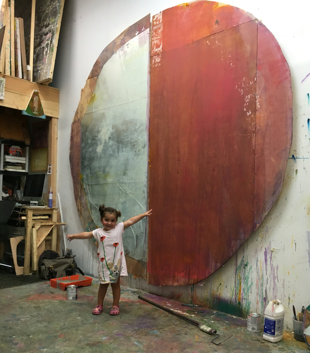 Moon, Daniel's daughter, in his studio at 1717 Troutman. Photo courtesy of Daniel John Gadd.
