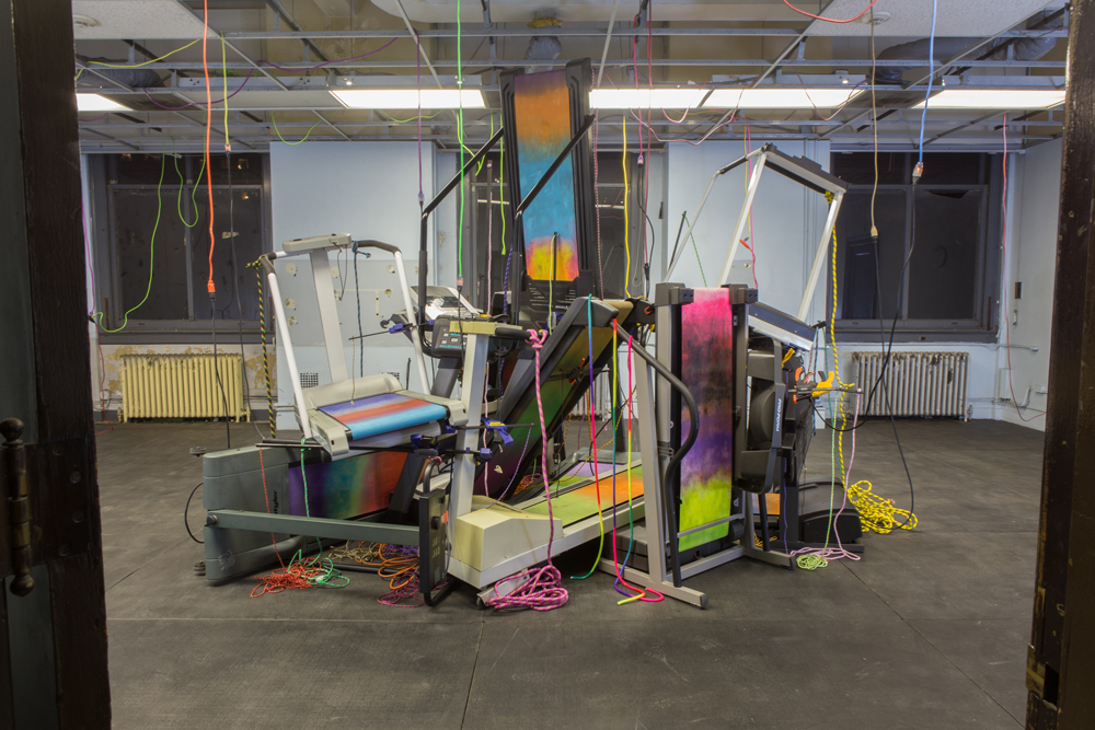 Photo: Brent Birnbaum, Untitled, 2015, Treadmills, paint, ropes, extension cords, clamps. Installed at SPRING/BREAK Art Show. Photo courtesy of Brent Birnbaum/Denny Gallery, NYC.
