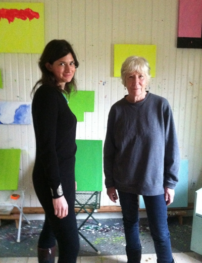 Photo: Jennifer Samet with Mary Heilmann in her Bridgehampton studio for an interview, January 2013