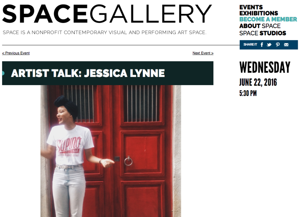 Webspace from http://www.space538.org/. Jessica Lynne artist talk, June 22, 2016.