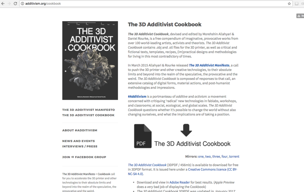 Screenshot of Additivism.org.   The 3D Additivist Cookbook  , devised and edited by Morehshin Allahyari & Daniel Rourke. http://additivism.org/cookbook