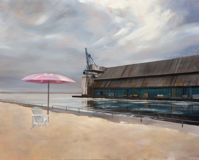 Pink Umbrella (2014) 48 x 60 oil on canvas (SOLD)
