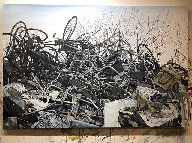 """Cycle"" , oil on canvas 48"" x 72"" 2019 . . . #oilpainting #art #ingramgallery #contemporaryart #contemporarypainting #artcollector #artistsoninstagram #artsy #artnet #canadianartist #torontoartist #ryandineen #artgallery"