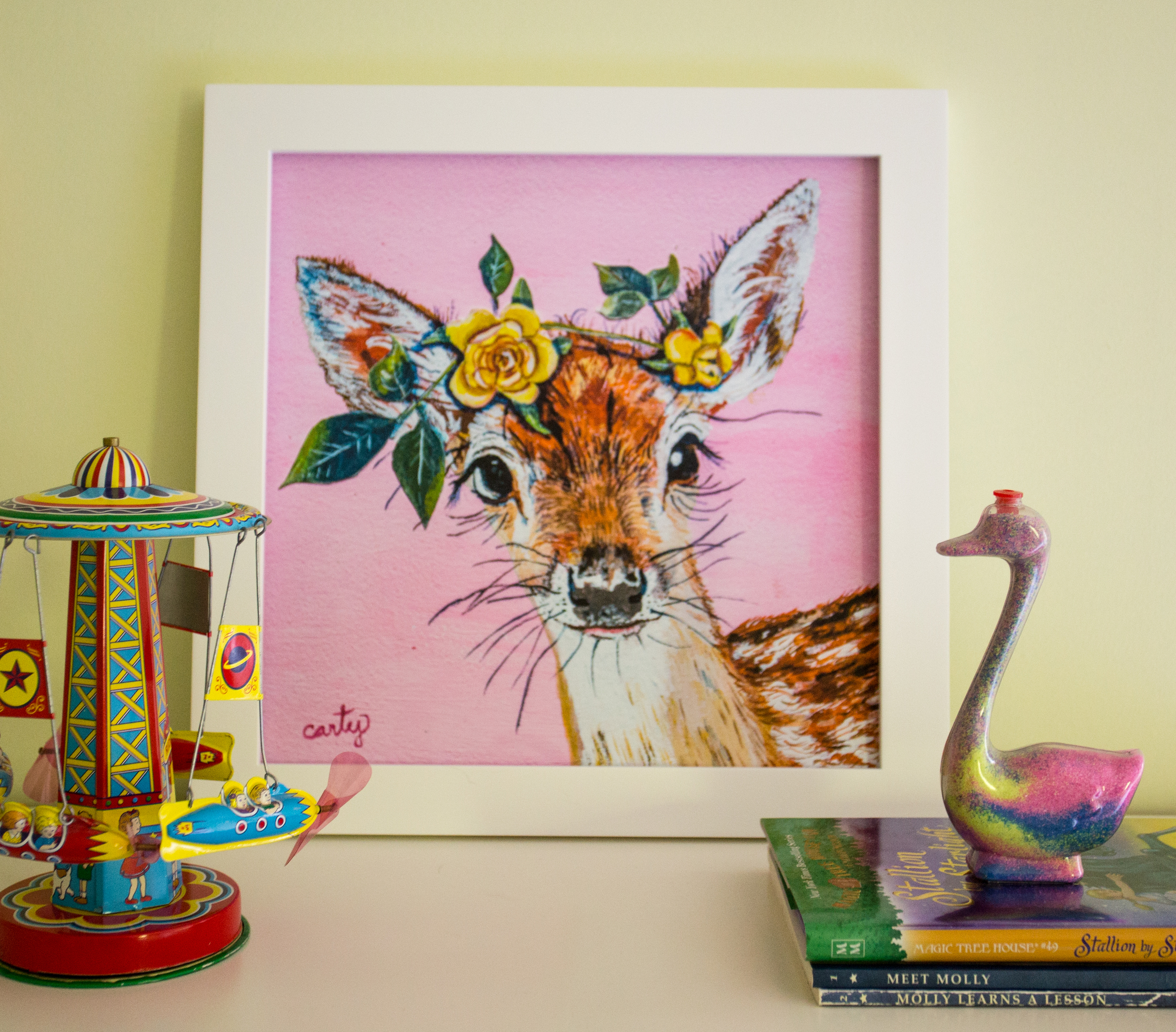 Deer Woodland Nursery Art Print