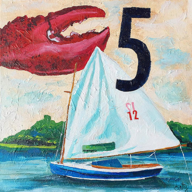 Sailing in Maine painting