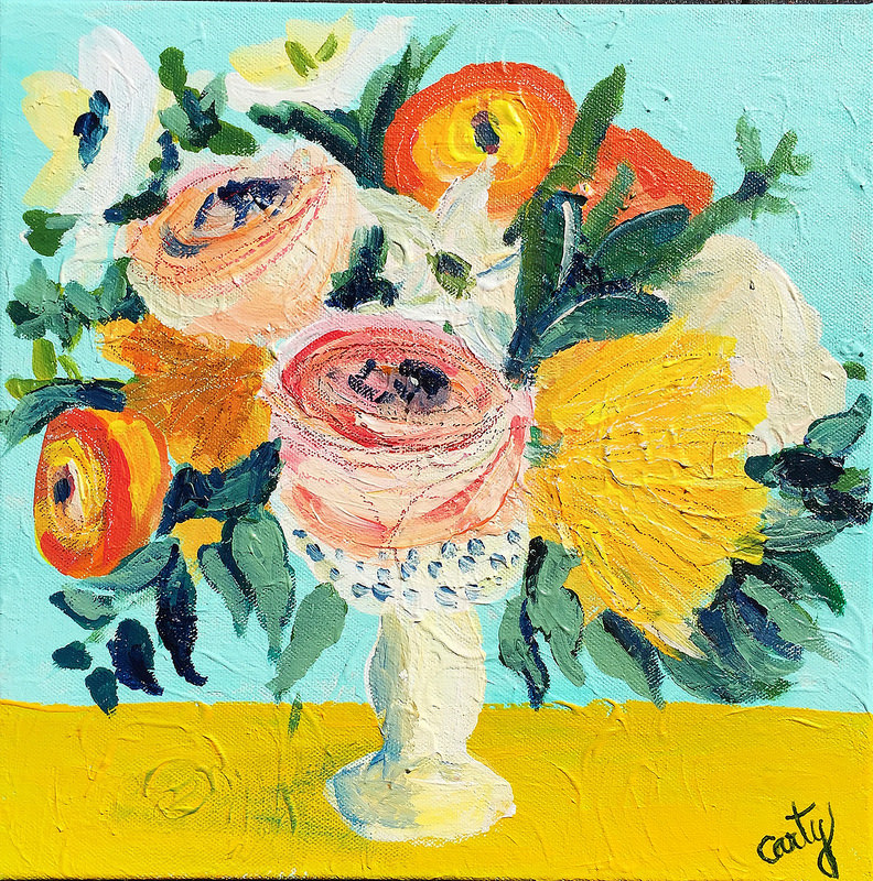 Vintage-inspired turquoise and yellow floral painting