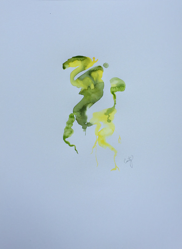 Abstract Green and Yellow leaves painting on paper