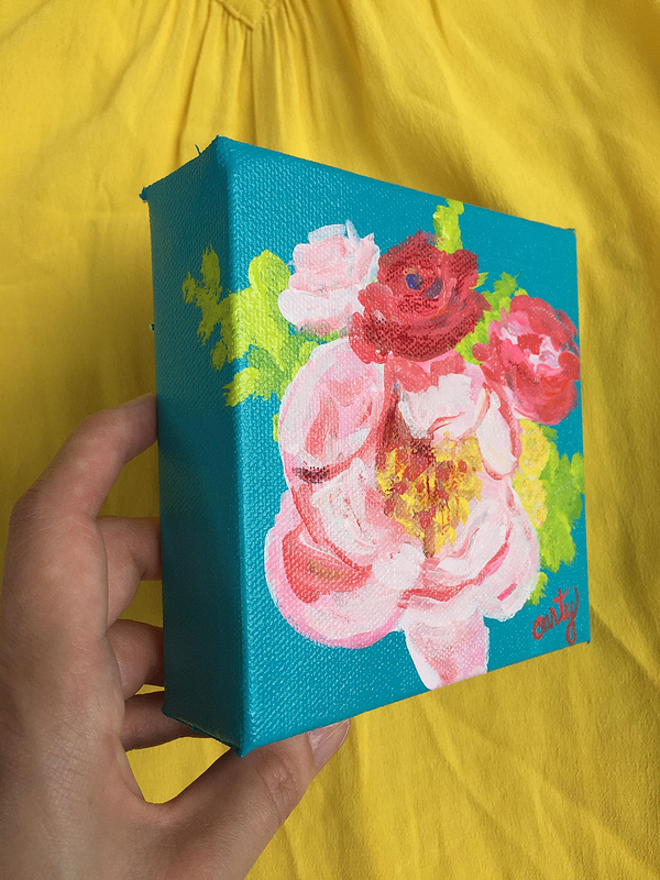 Vintage inspired floral painting