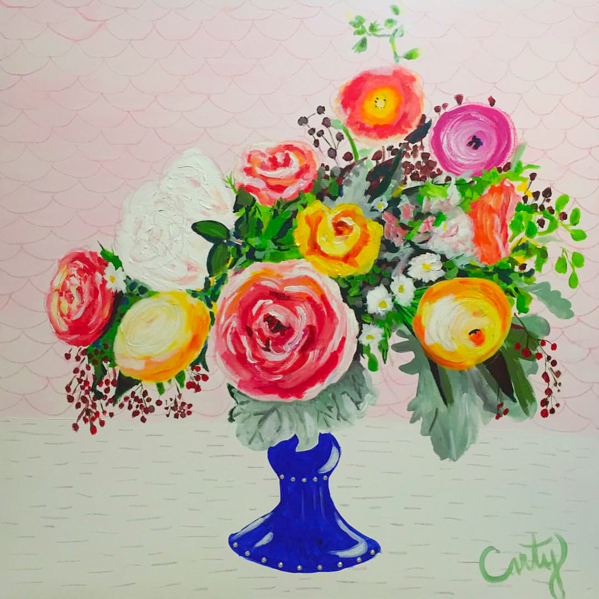 Floral Painting with Swarovski Crystals