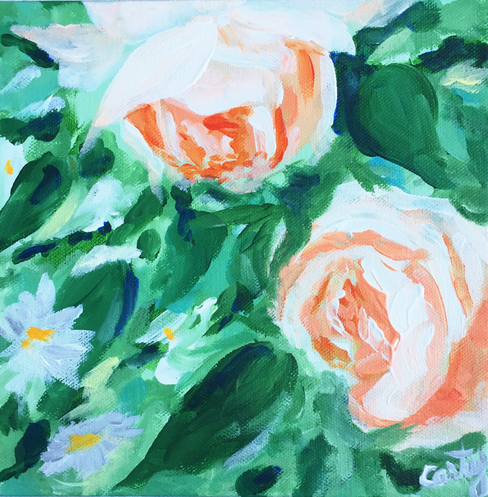 peach roses floral painting