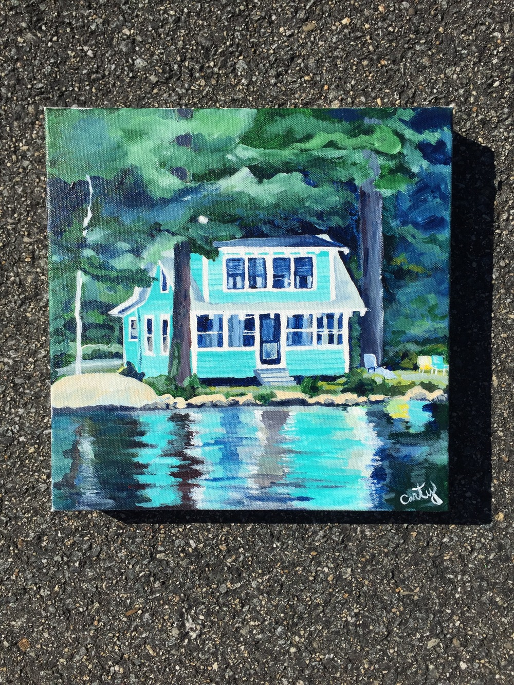 """The Green Camp"" 12x12 "" 1.5 inches thick, Acrylic on Gallery-wrapped canvas."