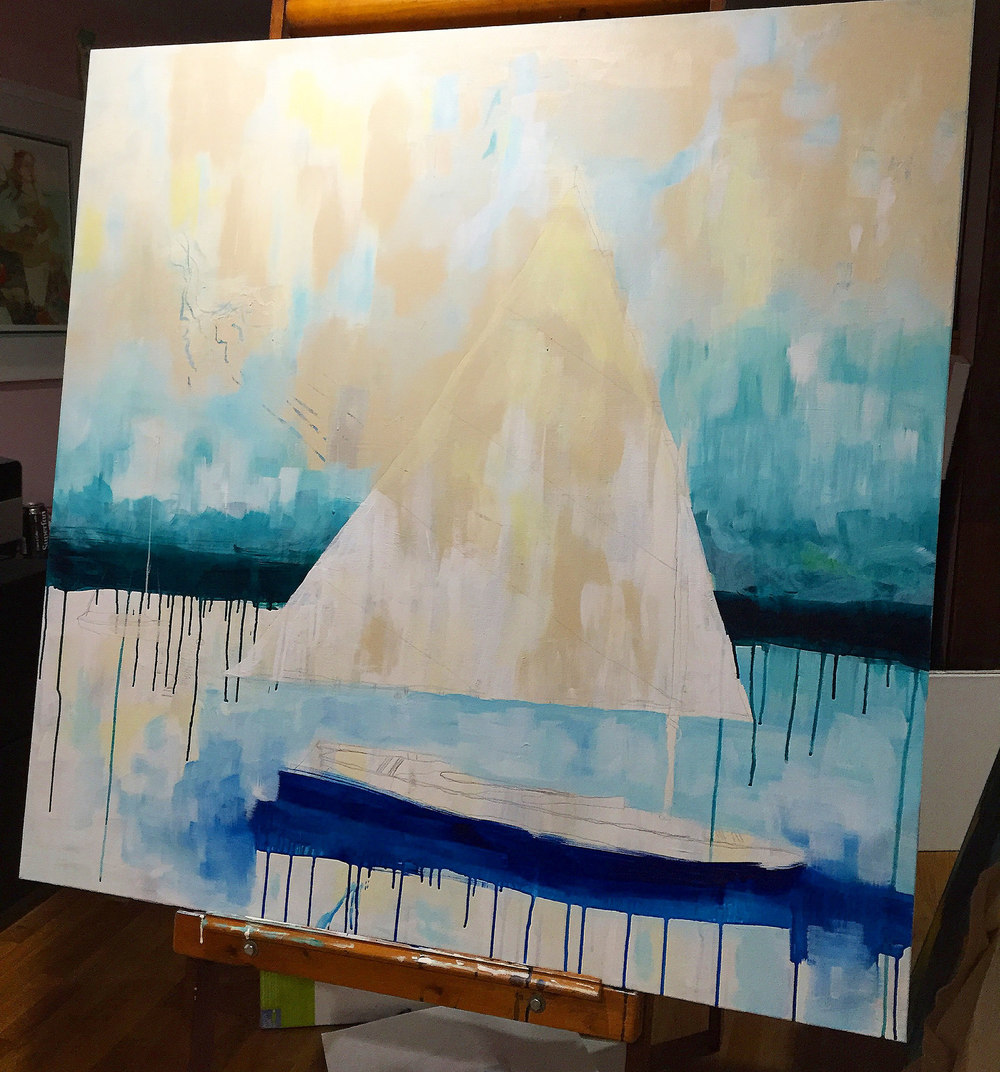 Maine nautical painting process by Megan Carty