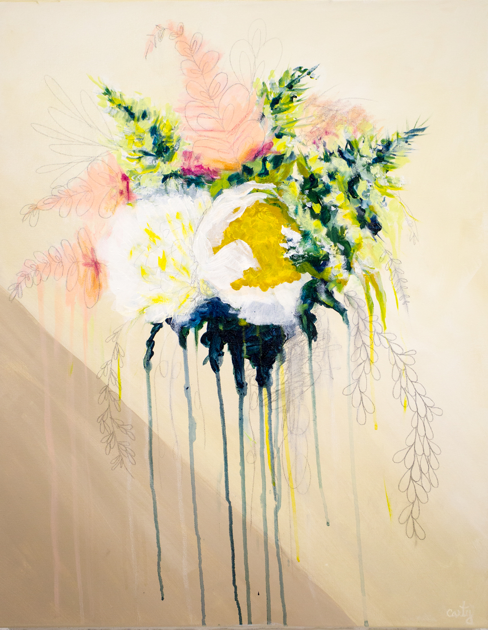 Custom Wedding Bouquet Painting by Megan Carty