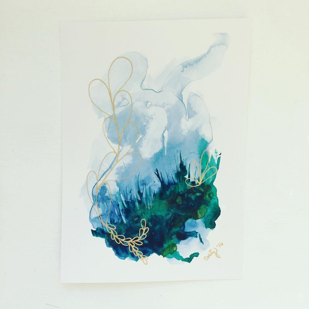 Abstract Watercolor Painting by Megan Carty, healing energy painting