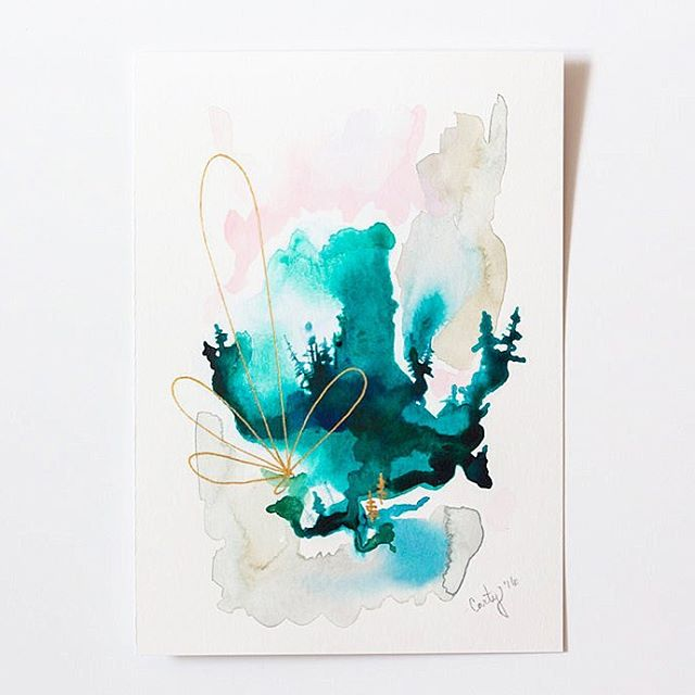 abstract watercolor landscape painting by Megan Carty